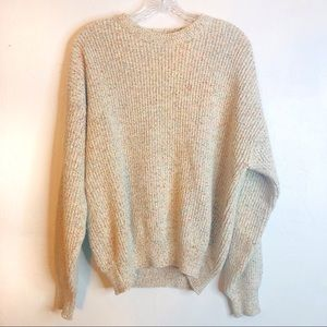 CHUNKY KNIT PASTEL RAINBOW SPECKLED CREW SWEATER
